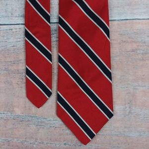 Brooks Brothers Red Silver & Blue Stripes Silk Tie